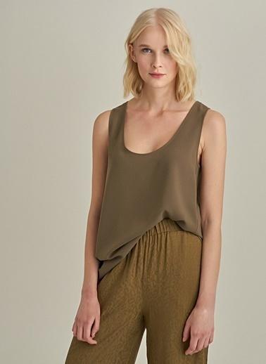 Ng Style Krep Kumaşlı Kolsuz Bluz Haki